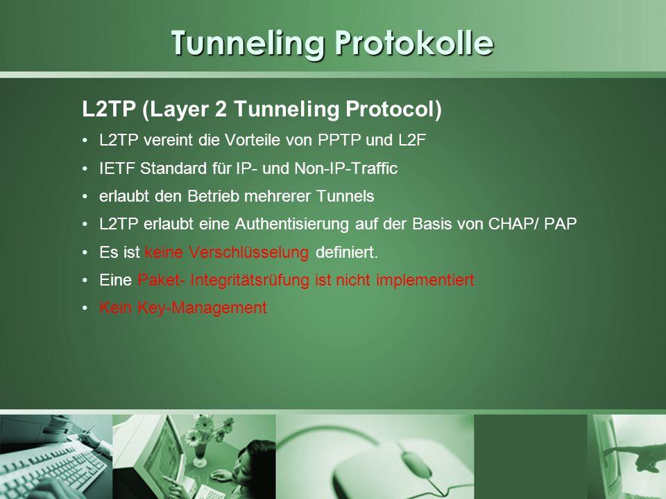 Tunneling Protokolle L2TP (Layer 2 Tunneling Protocol) L2TP vereint die Vorteile von PPTP und L2F IETF Standard für IP- und Non-IP-Traffic erlaubt den