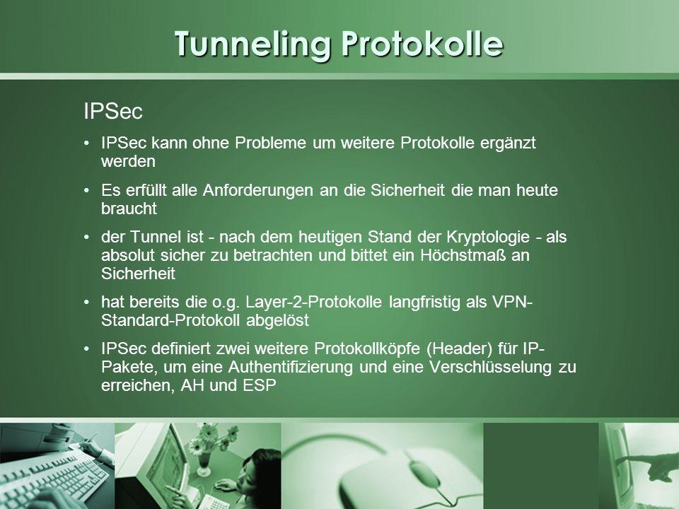 Tunneling Protokolle IPSec IPSec kann ohne Probleme um weitere Protokolle ergänzt werden Es erfüllt alle Anforderungen an die Sicherheit die man heute