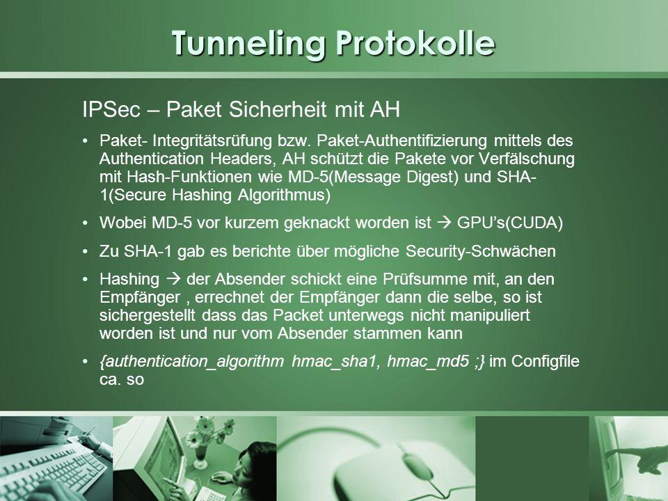 Tunneling Protokolle IPSec – Paket Sicherheit mit AH Paket- Integritätsrüfung bzw. Paket-Authentifizierung mittels des Authentication Headers, AH schü