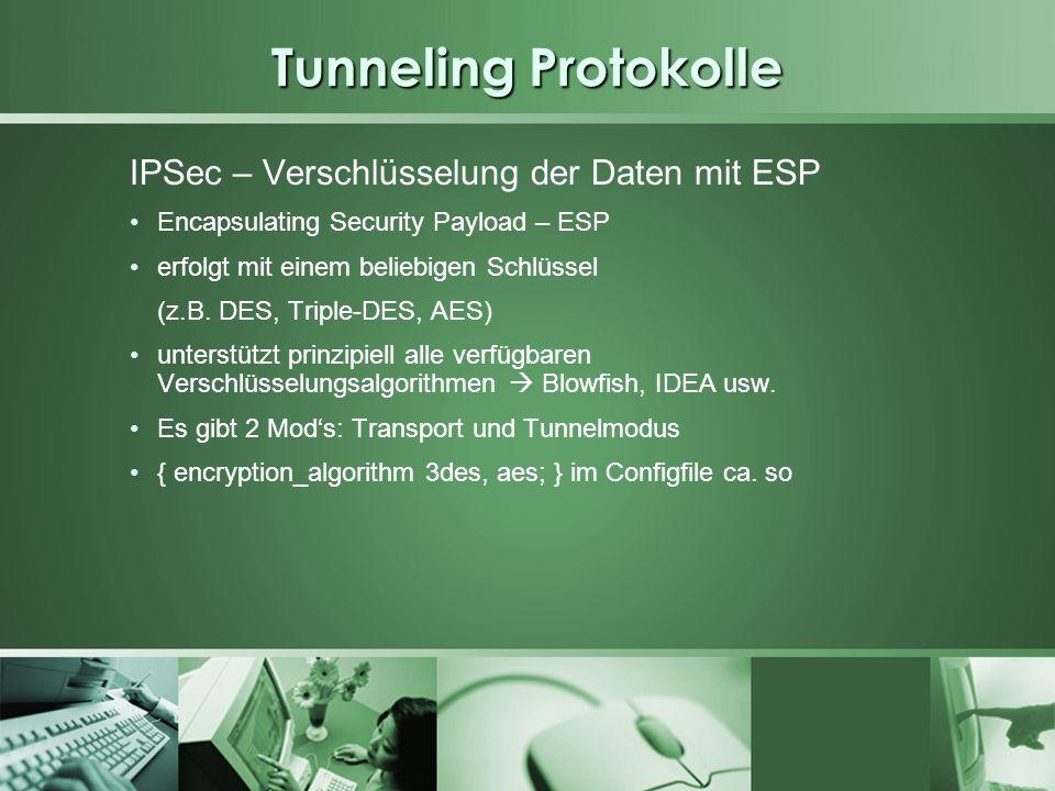 Tunneling Protokolle IPSec – Verschlüsselung der Daten mit ESP Encapsulating Security Payload – ESP erfolgt mit einem beliebigen Schlüssel (z.B. DES,