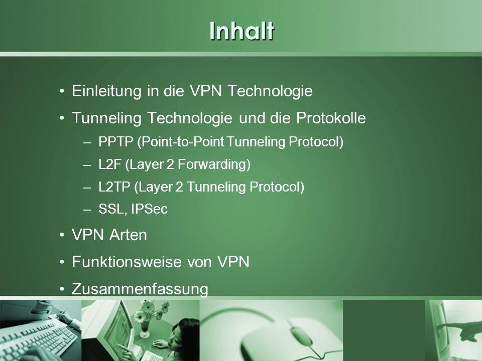 Inhalt Einleitung in die VPN Technologie Tunneling Technologie und die Protokolle –PPTP (Point-to-Point Tunneling Protocol) –L2F (Layer 2 Forwarding)