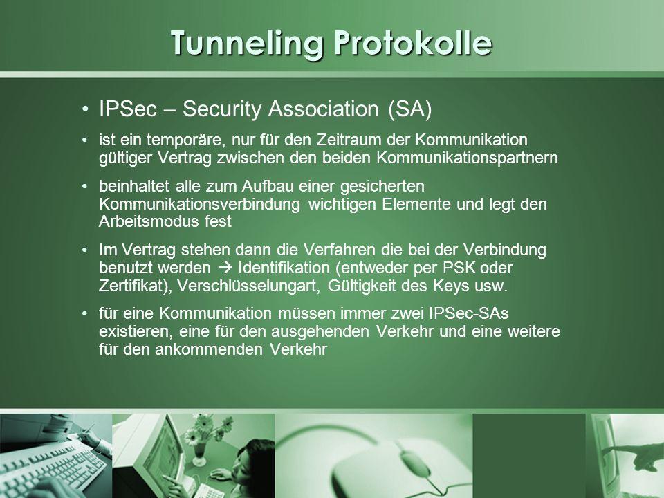 Tunneling Protokolle IPSec – Security Association (SA) ist ein temporäre, nur für den Zeitraum der Kommunikation gültiger Vertrag zwischen den beiden