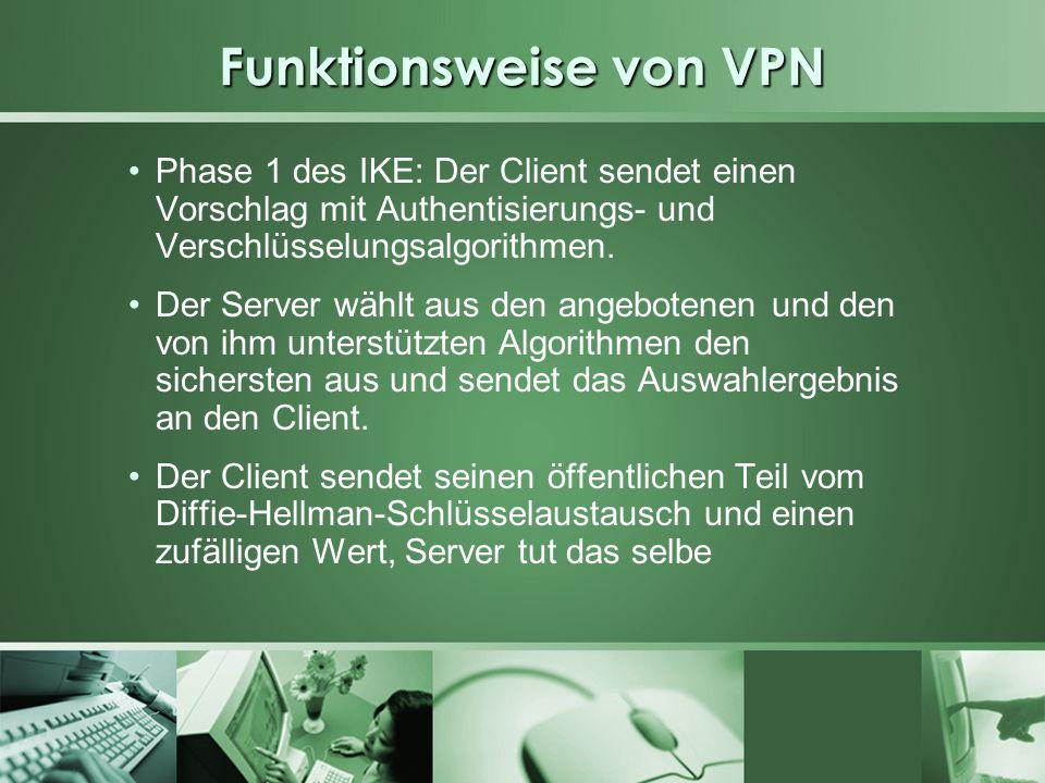 Funktionsweise von VPN Phase 1 des IKE: Der Client sendet einen Vorschlag mit Authentisierungs- und Verschlüsselungsalgorithmen. Der Server wählt aus