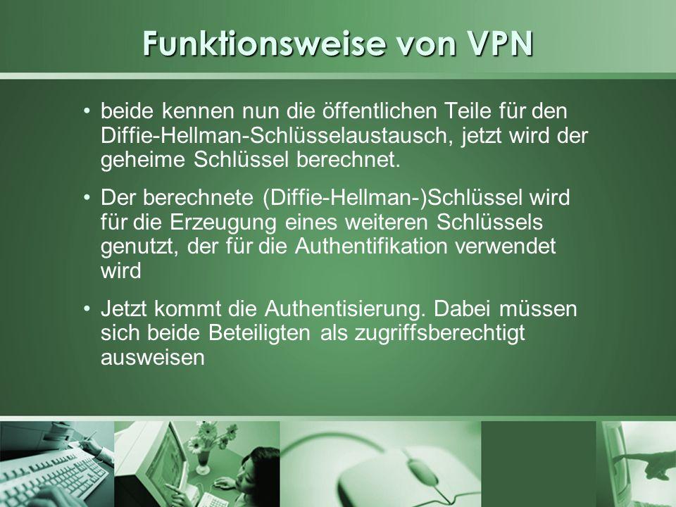 Funktionsweise von VPN beide kennen nun die öffentlichen Teile für den Diffie-Hellman-Schlüsselaustausch, jetzt wird der geheime Schlüssel berechnet.