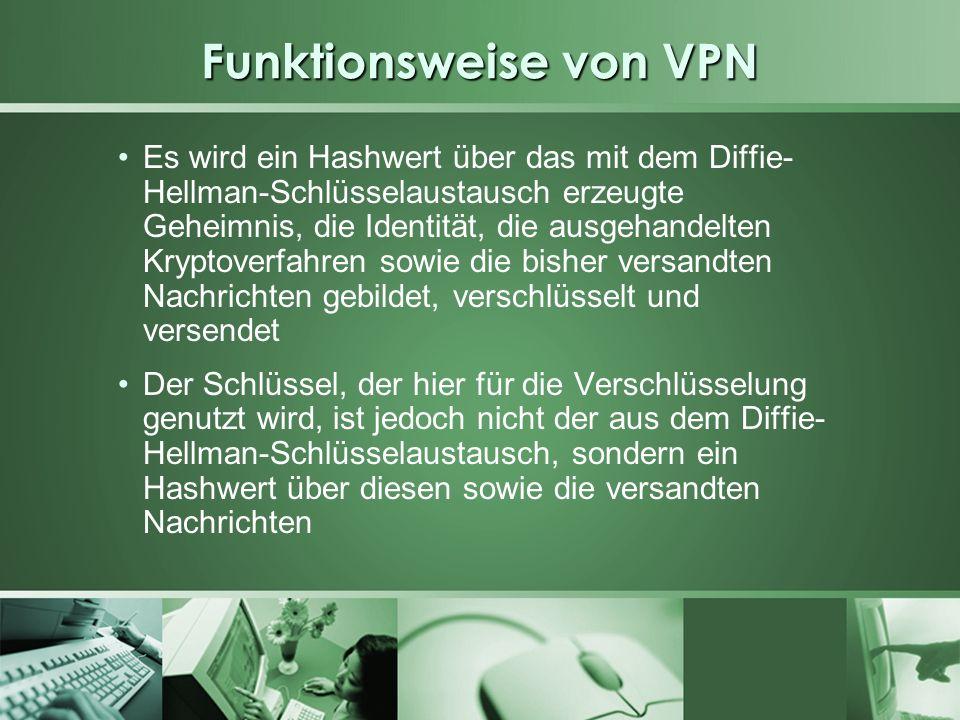 Funktionsweise von VPN Es wird ein Hashwert über das mit dem Diffie- Hellman-Schlüsselaustausch erzeugte Geheimnis, die Identität, die ausgehandelten