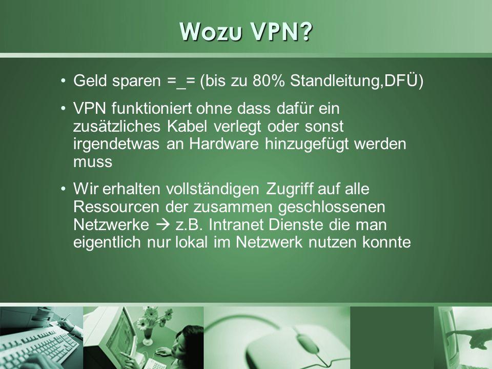 Beispiele für VPN Anwendung verteilte Unternehmensnetze können verbunden werden Hauptzentralle und Filiale Außendienstmitarbeiter können auf Ressourcen und Daten in dem Unternehmensnetz zuzugreifen, auf die sie eigentlich nur lokalen Zugriff hätten z.B.