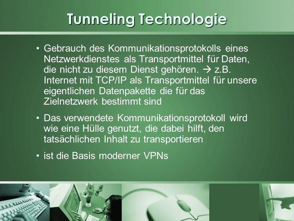 Tunneling Technologie Pakete eines Netzwerkprotokolls werden in Pakete eines anderen Netzwerkprotokolls gekapselt und über dieses Netzwerk übertragen Datenpakete werden als Nutzdaten in ein IP- Paket verpackt, über das Internet übertragen und beim Empfänger wieder ausgepackt Es gilt Authentizität, Integrität und Vertraulichkeit, die in unsicheren Trägermedien nicht gewährleistet werden können, sicherzustellen