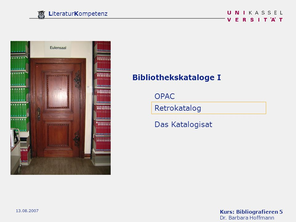 Kurs: Bibliografieren 5 Dr.