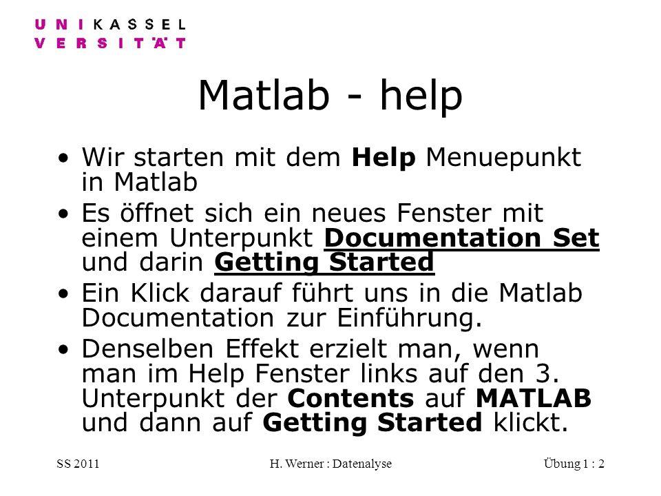 SS 2011H. Werner : DatenalyseÜbung 1 : 2 Matlab - help Wir starten mit dem Help Menuepunkt in Matlab Es öffnet sich ein neues Fenster mit einem Unterp