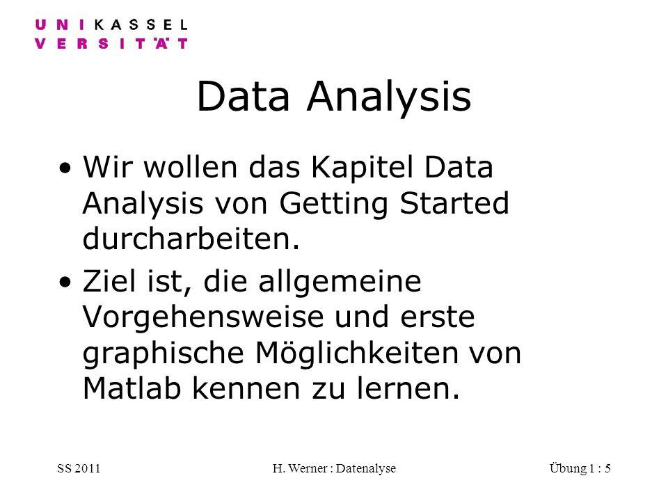 SS 2011H. Werner : DatenalyseÜbung 1 : 5 Data Analysis Wir wollen das Kapitel Data Analysis von Getting Started durcharbeiten. Ziel ist, die allgemein