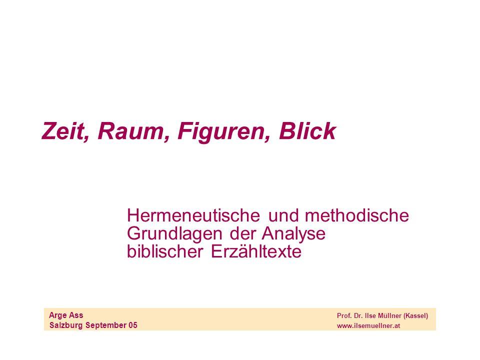 Zeit, Raum, Figuren, Blick Hermeneutische und methodische Grundlagen der Analyse biblischer Erzähltexte Arge Ass Prof. Dr. Ilse Müllner (Kassel) Salzb