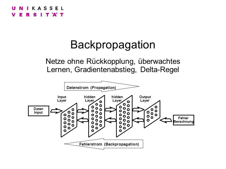 Backpropagation Netze ohne Rückkopplung, überwachtes Lernen, Gradientenabstieg, Delta-Regel Input Layer hidden Layer Output Layer Datenstrom (Propagat