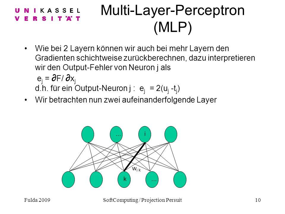 Fulda 2009SoftComputing / Projection Persuit10 Multi-Layer-Perceptron (MLP) Wie bei 2 Layern können wir auch bei mehr Layern den Gradienten schichtwei