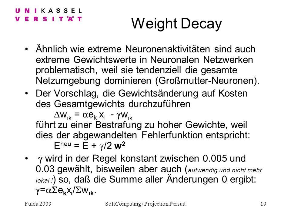 Fulda 2009SoftComputing / Projection Persuit19 Weight Decay Ähnlich wie extreme Neuronenaktivitäten sind auch extreme Gewichtswerte in Neuronalen Netz