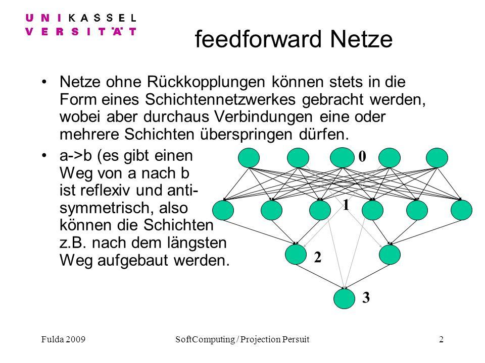 Fulda 2009SoftComputing / Projection Persuit2 feedforward Netze Netze ohne Rückkopplungen können stets in die Form eines Schichtennetzwerkes gebracht