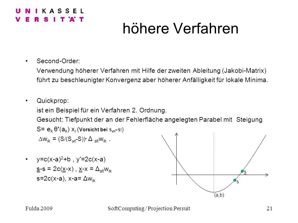 Fulda 2009SoftComputing / Projection Persuit21 höhere Verfahren Second-Order: Verwendung höherer Verfahren mit Hilfe der zweiten Ableitung (Jakobi-Mat