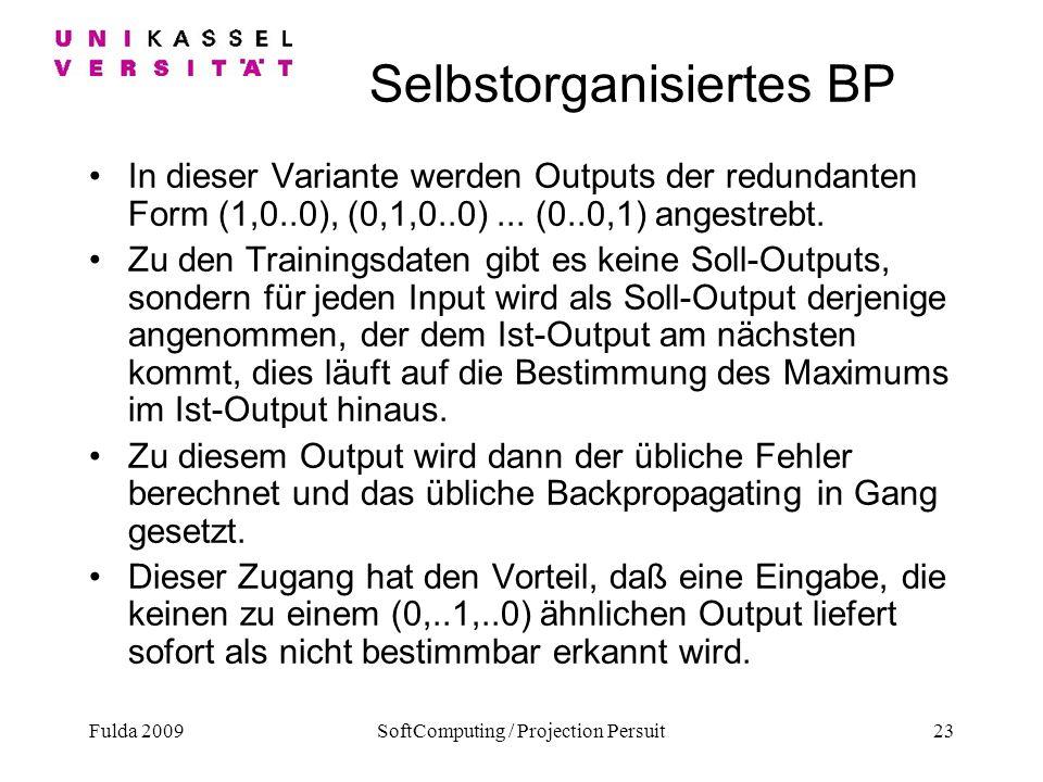 Fulda 2009SoftComputing / Projection Persuit23 Selbstorganisiertes BP In dieser Variante werden Outputs der redundanten Form (1,0..0), (0,1,0..0)... (