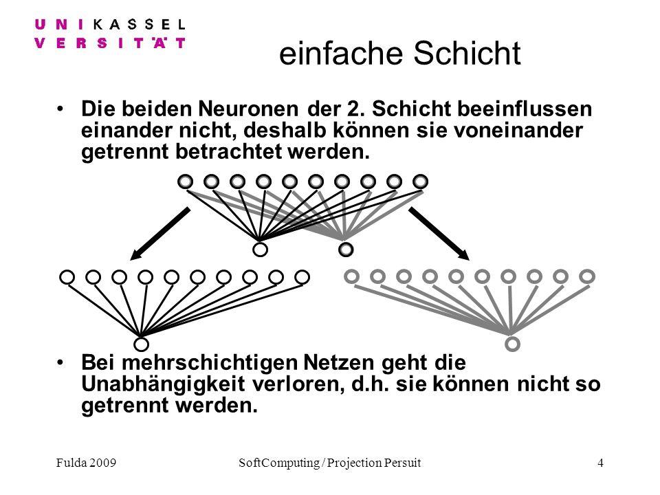 Fulda 2009SoftComputing / Projection Persuit4 einfache Schicht Die beiden Neuronen der 2. Schicht beeinflussen einander nicht, deshalb können sie vone