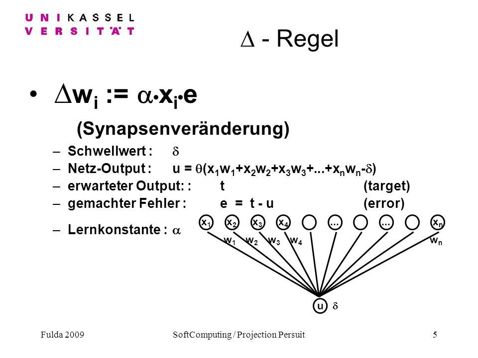 Fulda 2009SoftComputing / Projection Persuit5 - Regel w i := x i e (Synapsenveränderung) –Schwellwert : –Netz-Output :u = (x 1 w 1 +x 2 w 2 +x 3 w 3 +