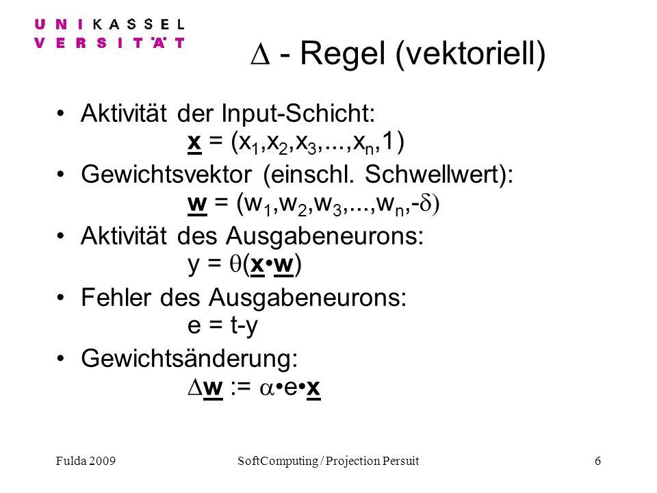 Fulda 2009SoftComputing / Projection Persuit6 - Regel (vektoriell) Aktivität der Input-Schicht: x = (x 1,x 2,x 3,...,x n,1) Gewichtsvektor (einschl. S