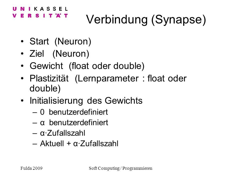 Fulda 2009Soft Computing / Programmieren Verbindung (Synapse) Start (Neuron) Ziel (Neuron) Gewicht (float oder double) Plastizität (Lernparameter : fl