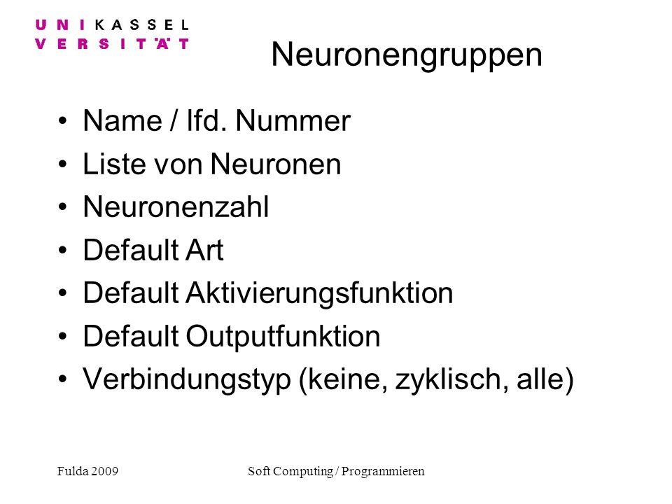 Fulda 2009Soft Computing / Programmieren Neuronengruppen Name / lfd. Nummer Liste von Neuronen Neuronenzahl Default Art Default Aktivierungsfunktion D