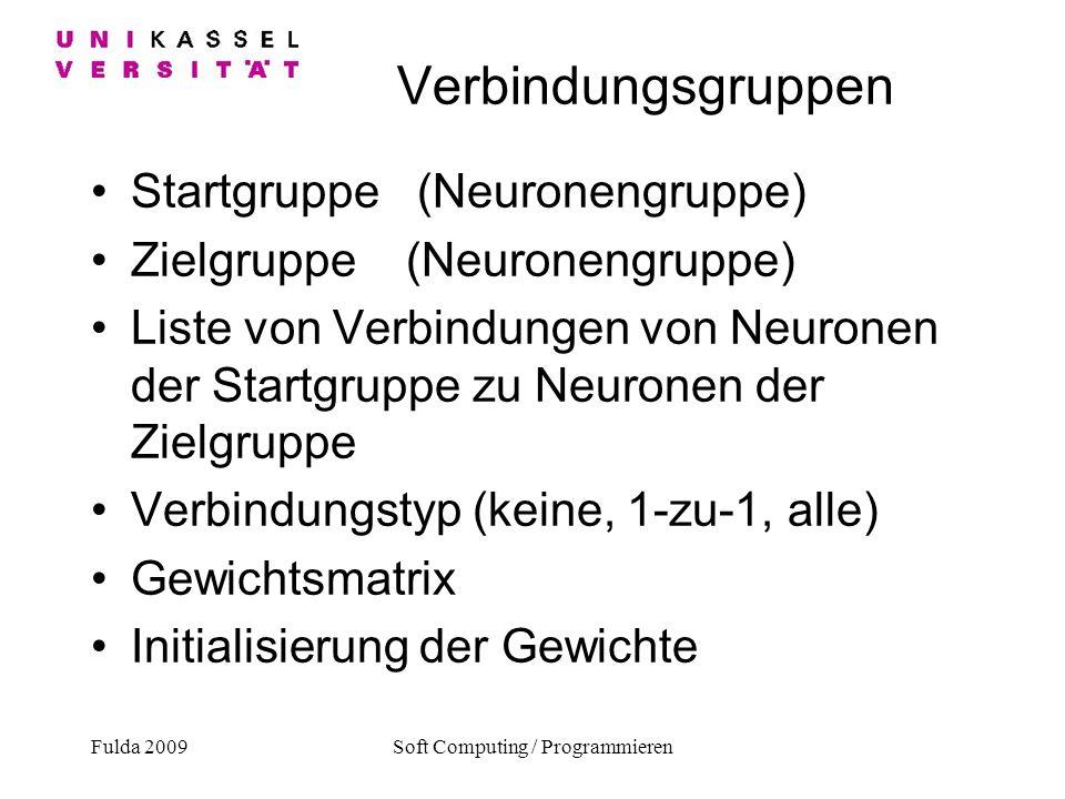 Fulda 2009Soft Computing / Programmieren Verbindungsgruppen Startgruppe (Neuronengruppe) Zielgruppe (Neuronengruppe) Liste von Verbindungen von Neuron