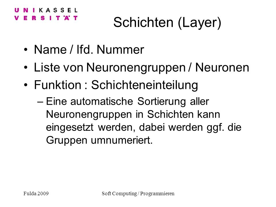 Fulda 2009Soft Computing / Programmieren Schichten (Layer) Name / lfd.