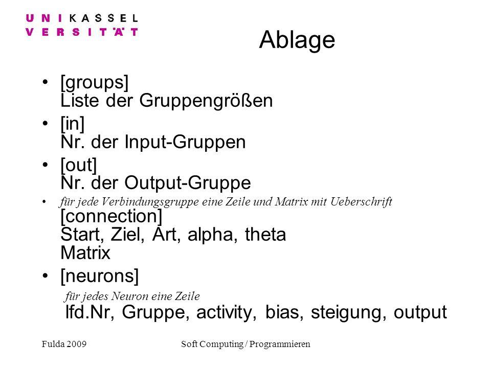 Fulda 2009Soft Computing / Programmieren Ablage [groups] Liste der Gruppengrößen [in] Nr. der Input-Gruppen [out] Nr. der Output-Gruppe für jede Verbi