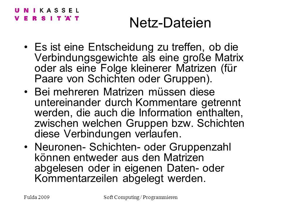 Fulda 2009Soft Computing / Programmieren Netz-Dateien Es ist eine Entscheidung zu treffen, ob die Verbindungsgewichte als eine große Matrix oder als e