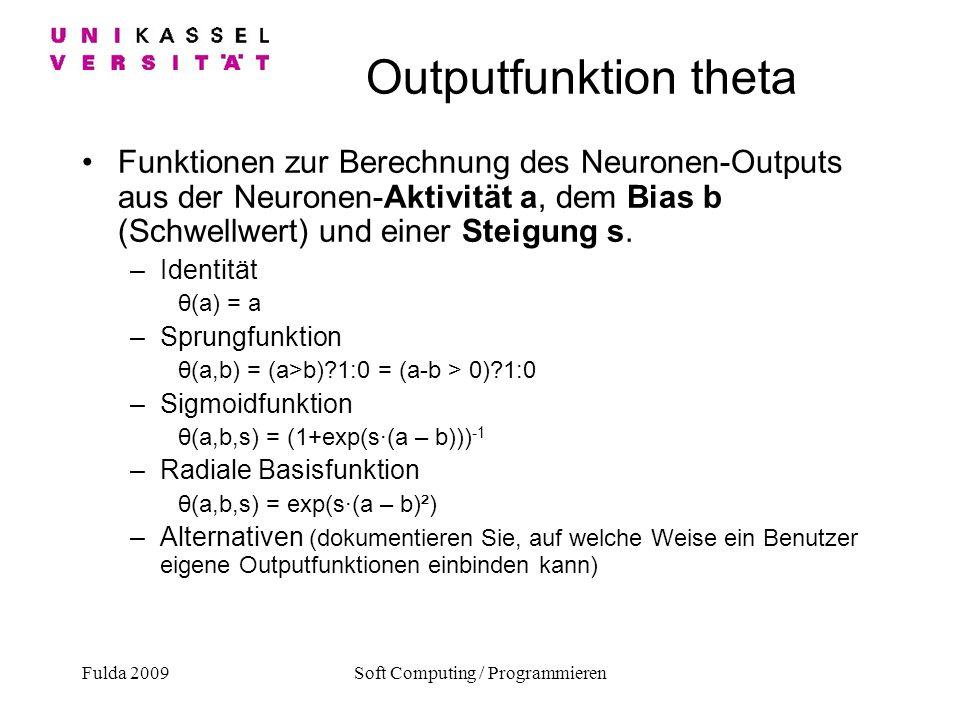 Fulda 2009Soft Computing / Programmieren Outputfunktion theta Funktionen zur Berechnung des Neuronen-Outputs aus der Neuronen-Aktivität a, dem Bias b