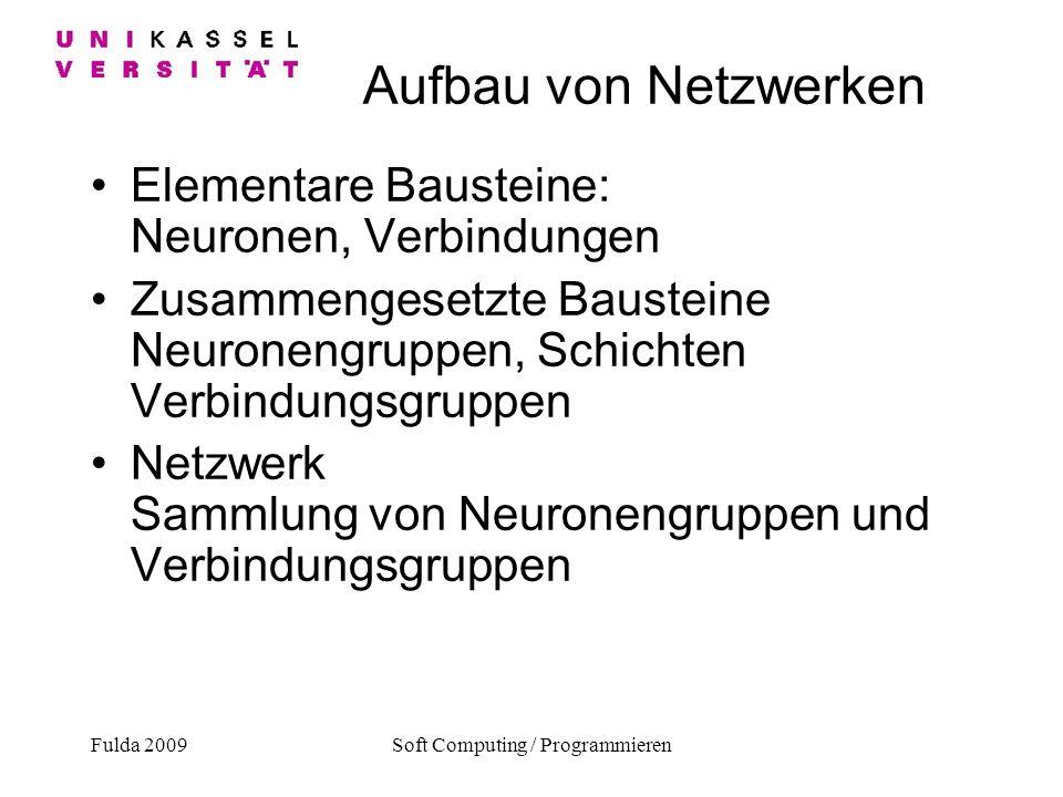 Fulda 2009Soft Computing / Programmieren Aufbau von Netzwerken Elementare Bausteine: Neuronen, Verbindungen Zusammengesetzte Bausteine Neuronengruppen