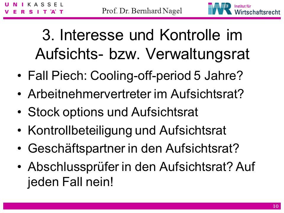 Prof. Dr. Bernhard Nagel 10 3. Interesse und Kontrolle im Aufsichts- bzw. Verwaltungsrat Fall Piech: Cooling-off-period 5 Jahre? Arbeitnehmervertreter