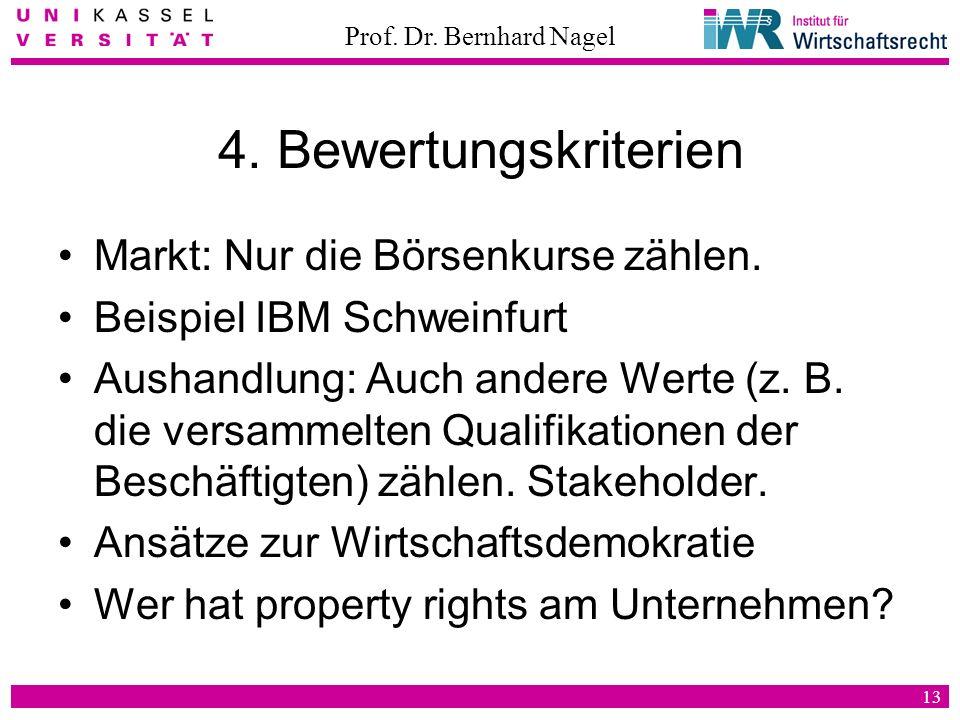 Prof. Dr. Bernhard Nagel 13 4. Bewertungskriterien Markt: Nur die Börsenkurse zählen. Beispiel IBM Schweinfurt Aushandlung: Auch andere Werte (z. B. d