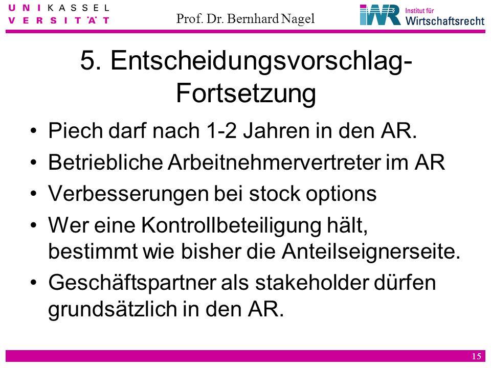 Prof. Dr. Bernhard Nagel 15 5. Entscheidungsvorschlag- Fortsetzung Piech darf nach 1-2 Jahren in den AR. Betriebliche Arbeitnehmervertreter im AR Verb