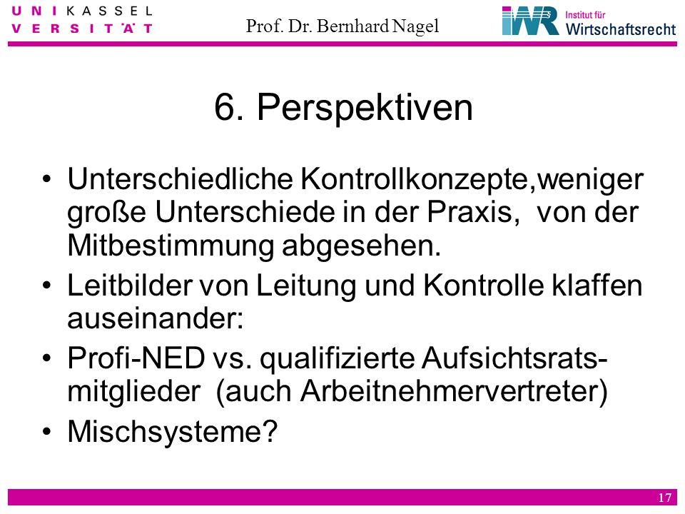 Prof. Dr. Bernhard Nagel 17 6. Perspektiven Unterschiedliche Kontrollkonzepte,weniger große Unterschiede in der Praxis, von der Mitbestimmung abgesehe