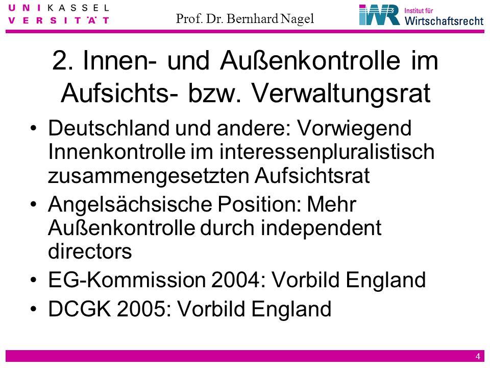 Prof. Dr. Bernhard Nagel 4 2. Innen- und Außenkontrolle im Aufsichts- bzw. Verwaltungsrat Deutschland und andere: Vorwiegend Innenkontrolle im interes