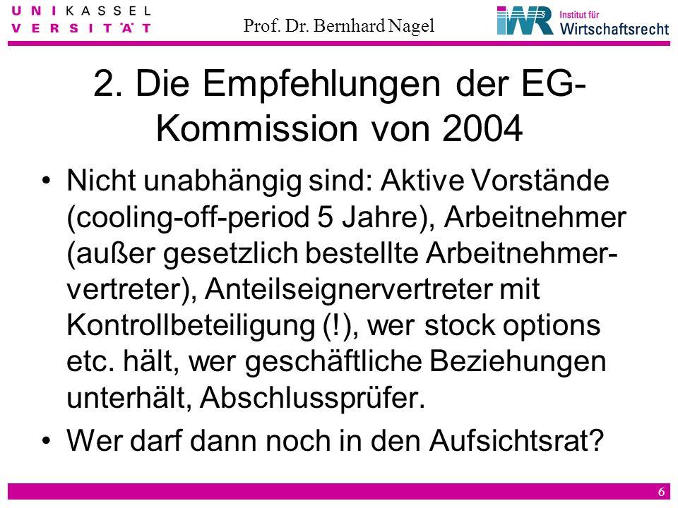 Prof. Dr. Bernhard Nagel 6 2. Die Empfehlungen der EG- Kommission von 2004 Nicht unabhängig sind: Aktive Vorstände (cooling-off-period 5 Jahre), Arbei