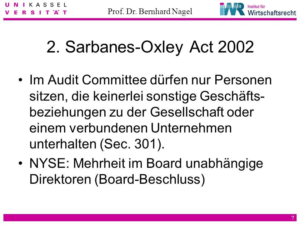 Prof. Dr. Bernhard Nagel 7 2. Sarbanes-Oxley Act 2002 Im Audit Committee dürfen nur Personen sitzen, die keinerlei sonstige Geschäfts- beziehungen zu