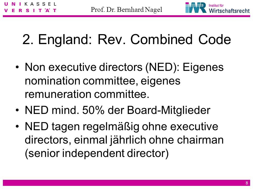 Prof. Dr. Bernhard Nagel 8 2. England: Rev. Combined Code Non executive directors (NED): Eigenes nomination committee, eigenes remuneration committee.
