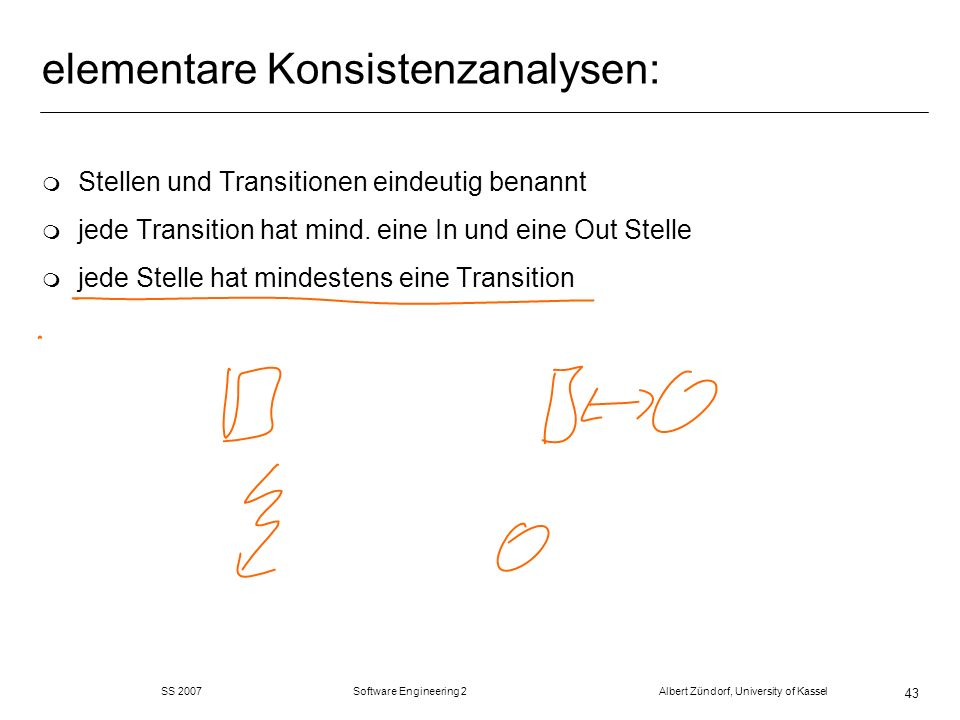 SS 2007 Software Engineering 2 Albert Zündorf, University of Kassel 43 elementare Konsistenzanalysen: m Stellen und Transitionen eindeutig benannt m jede Transition hat mind.