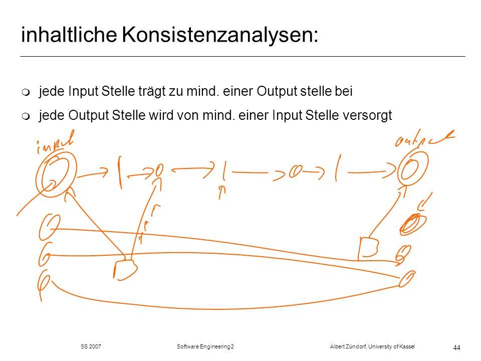 SS 2007 Software Engineering 2 Albert Zündorf, University of Kassel 44 inhaltliche Konsistenzanalysen: m jede Input Stelle trägt zu mind. einer Output