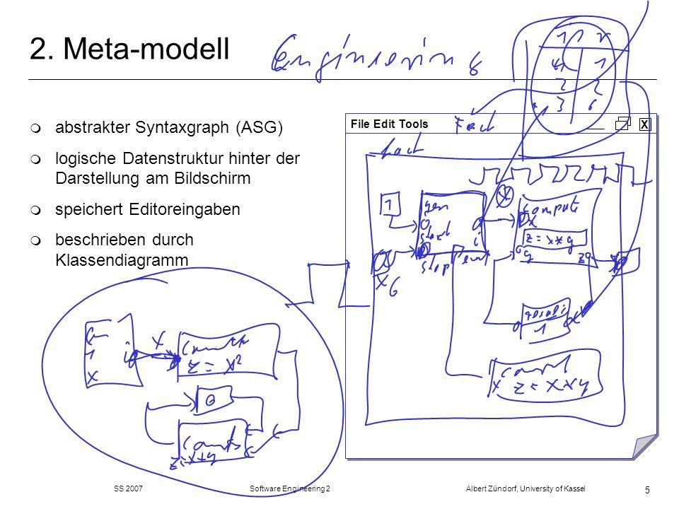 SS 2007 Software Engineering 2 Albert Zündorf, University of Kassel 46 Refactorings: merge Transitions m fasse zwei Transitionen zu einer zusammen m name der ersten m Java Code von beiden hintereinander m In Stellen von beiden m Out Stellen von beiden