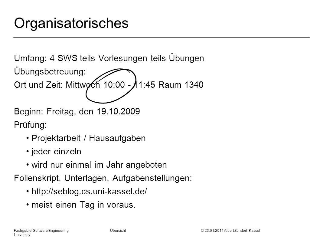 Fachgebiet Software Engineering Übersicht © 23.01.2014 Albert Zündorf, Kassel University Konstruktion: First und Follow E ::= T E Follow (E) = {} E ::= + T E | Follow (E ) = {} T ::= F T Follow (T) = {} T ::= * F T | Follow (T ) = {} F ::= n | ( E ) Follow (F) = {}