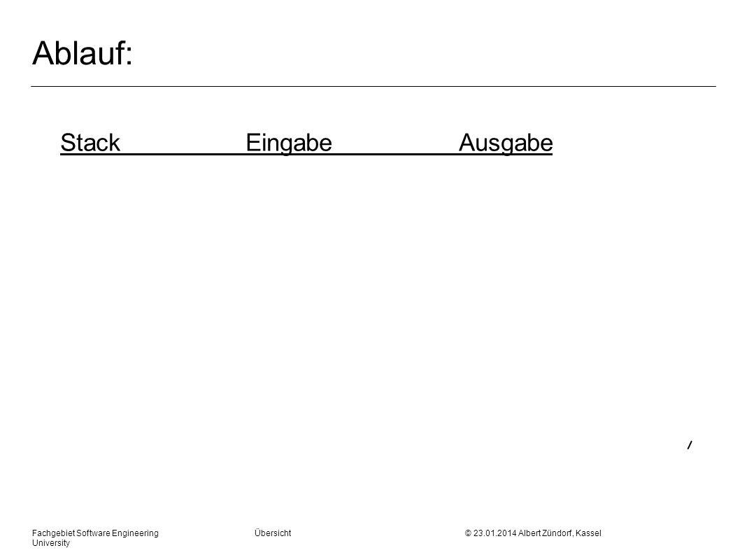 Fachgebiet Software Engineering Übersicht © 23.01.2014 Albert Zündorf, Kassel University Ablauf: StackEingabeAusgabe