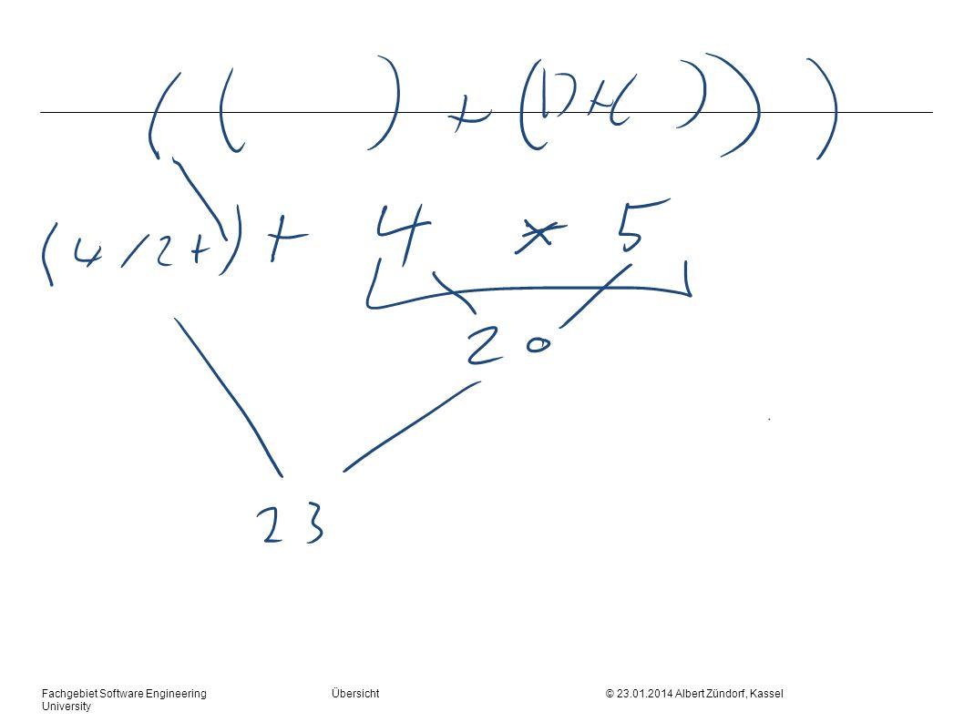 Fachgebiet Software Engineering Übersicht © 23.01.2014 Albert Zündorf, Kassel University Parsertabelle +*()n$ EE::=TE E E ::=+TE E ::= TT::=FT T T ::= T ::=*FT T ::= FF::=(E)F::=n