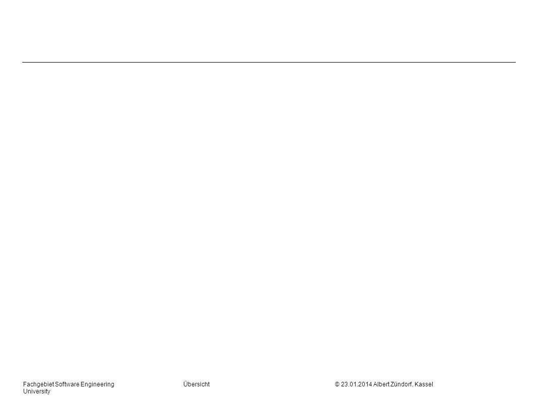 Fachgebiet Software Engineering Übersicht © 23.01.2014 Albert Zündorf, Kassel University Konstruktion: First und Follow First ( ) Menge aller Terminale mit denen beginnen kann First (a) {a} X ::= First ( X ) += X ::= A B C D First ( X ) += First ( A ) if ( First (A) ) First ( X ) += First (B) …