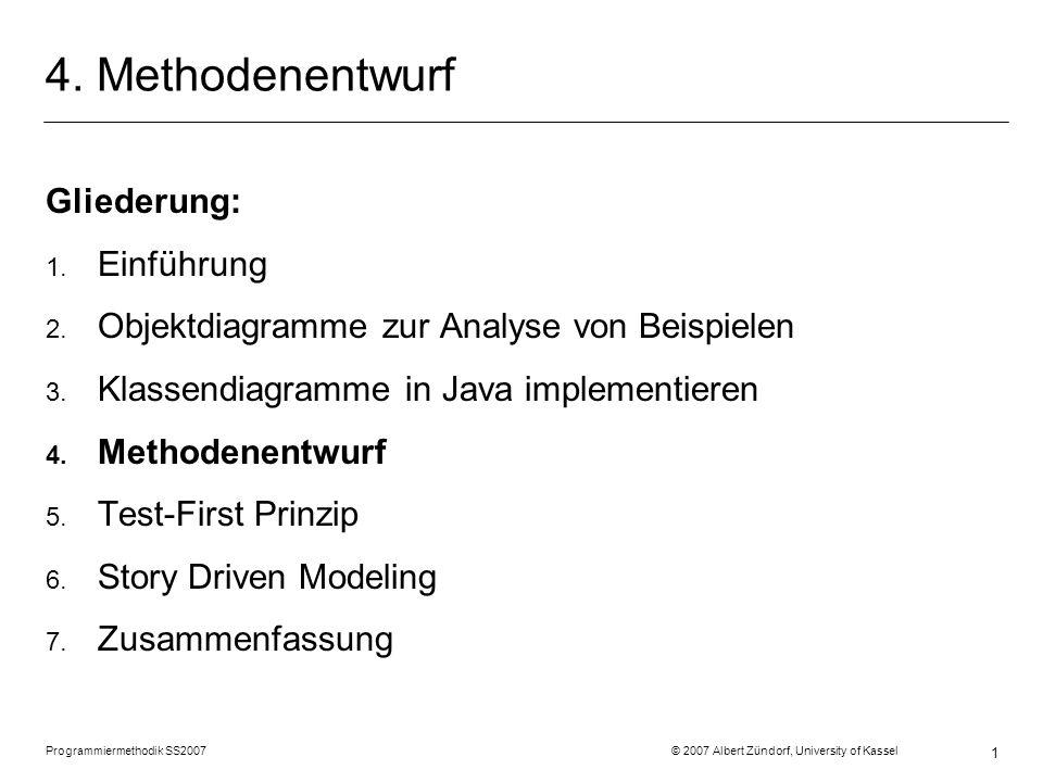 Student.doAssignment() Programmiermethodik SS2007 © 2007 Albert Zündorf, University of Kassel 32
