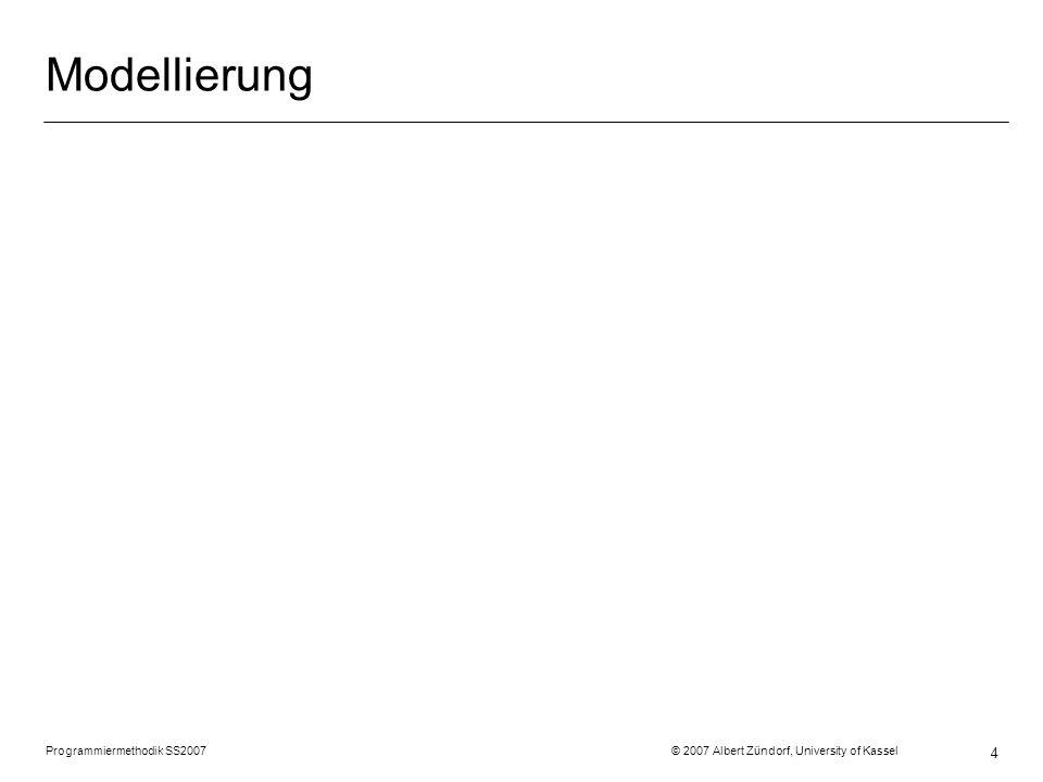 Programmiermethodik SS2007 © 2007 Albert Zündorf, University of Kassel 45 Grafische Tests mit Fujaba Story Boards class Scencario1Test { public Person prinz; public Raum r; public Tuer t1; … @Test public void scenario1 () { prinz = new Person (); r = new Raum (); prinz.setIn (r); t1 = new Tuer (); r.tueren.add (t1); … prinz.sammle…(); assertEquals (prinz.getIn (), r); assertTrue(r.tueren.contains(t1)); invent = prinz.hat; assertTrue(invent.enthaelt.contains(g1)) ; …