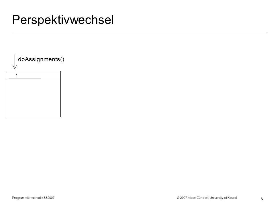 Programmiermethodik SS2007 © 2007 Albert Zündorf, University of Kassel 6 Perspektivwechsel : doAssignments()